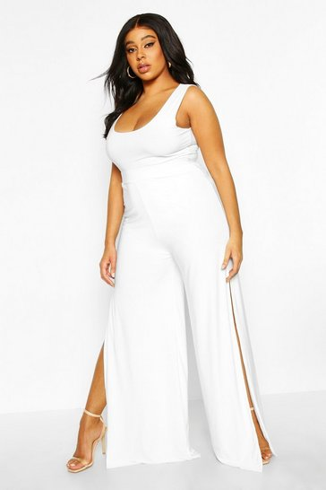Womens White Plus Slinky Palazzo Split Trousers