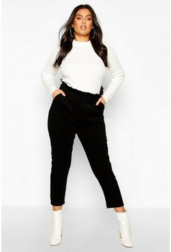 Womens Black Plus Paper Bag Belted Cord Tapered Trouser