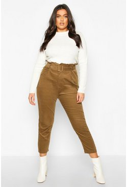 Womens Khaki Plus Paper Bag Belted Cord Tapered Trouser