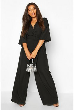 Womens Black Plus Wide Leg Tie Waist Plunge Jumpsuit