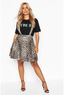 Womens Brown Plus Leopard Print Pinafore Skirt