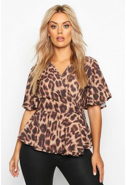 Womens Brown Plus Leopard Woven Wrap Peplum Top