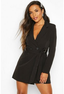 Black Petite Tailored D-Ring Belted Blazer Dress