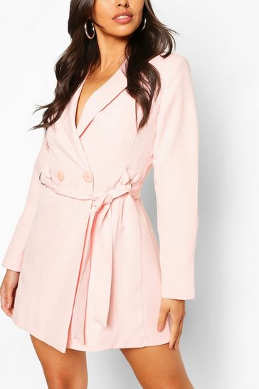 Blush Petite Tailored D-Ring Belted Blazer Dress