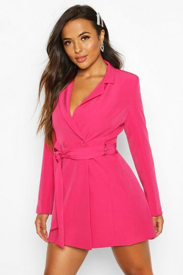 Hot pink Petite Tailored D-Ring Belted Blazer Dress
