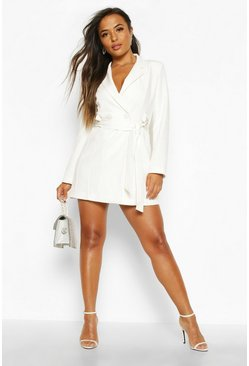 Womens White Petite Tailored D-Ring Belted Blazer Dress