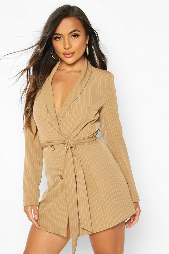 Womens Brown Petite Striped Double Breasted Belted Blazer Dress