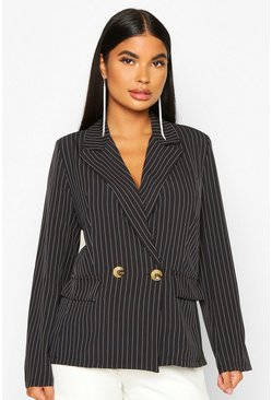 Dam Black Petite Pinstripe Button Up Blazer