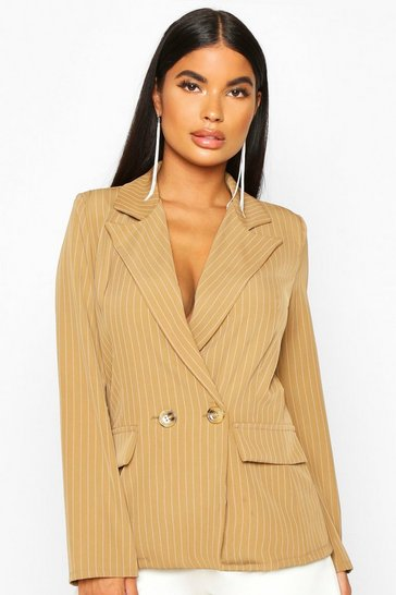 Womens Brown Petite Pinstripe Button Up Blazer
