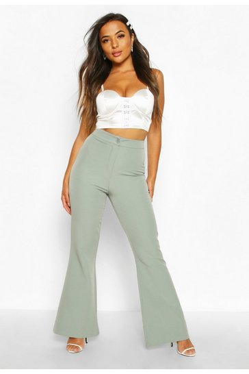 Womens Sage Petite High Waist Tailored Flares