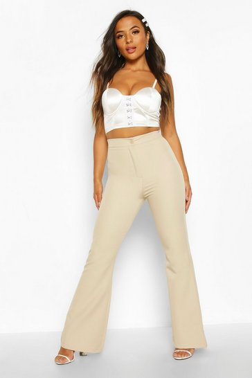 Womens Stone Petite High Waist Tailored Flares