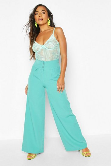 Teal Petite High Waist Wide Leg Tailored Trousers