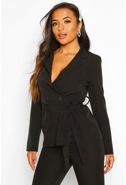 Dam Black Petite Wrap Around Belted Blazer