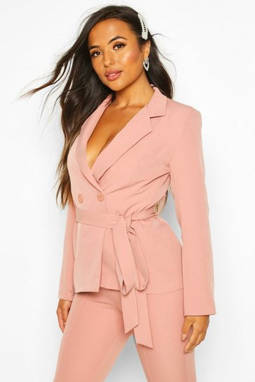 Womens Blush Petite Wrap Around Belted Blazer