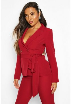 Womens Mahogany Petite Wrap Around Belted Blazer
