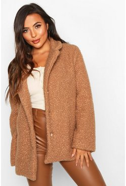 Camel Petite Gold Button Detail Teddy Coat