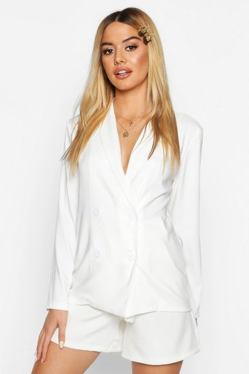 Womens Ivory Petite Light Weight Double Breasted Blazer