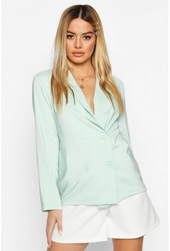 Sage Petite Light Weight Double Breasted Blazer