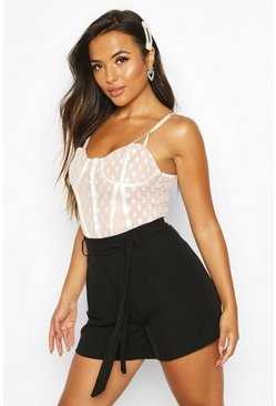Black Petite Woven Drape Tailored Shorts