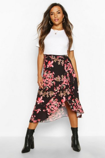 Womens Black Petite Floral Wrap Midi Skirt
