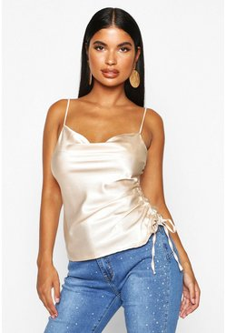 Womens Champagne Petite Ruched Side Satin Cowl Neck Cami Top