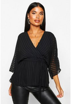Womens Black Petite Woven Sheer Stripe Wrap Batwing Blouse