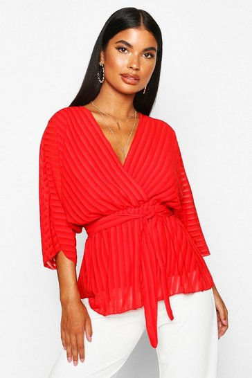 Womens Red Petite Woven Sheer Stripe Wrap Batwing Blouse