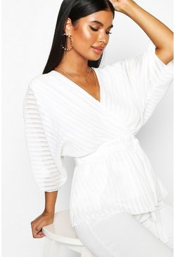 Womens White Petite Woven Sheer Stripe Wrap Batwing Blouse