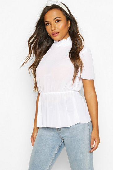 Womens White Petite Shirred Neck Angel Sleeve Blouse