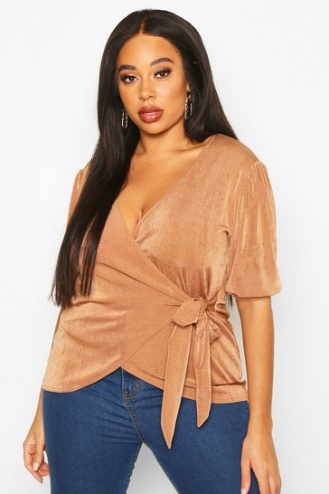 Womens Camel Plus Puff Sleeve Slinky Wrap Top