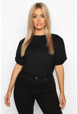 Womens Black Plus Ruched Knot Puff Sleeve T-Shirt