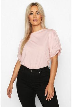 Blush Plus Ruched Knot Puff Sleeve T-Shirt