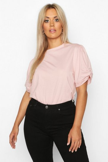 Womens Blush Plus Ruched Knot Puff Sleeve T-Shirt