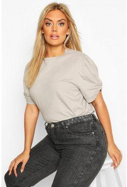 Grey Plus Ruched Knot Puff Sleeve T-Shirt
