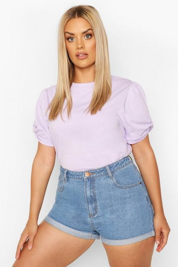 Lilac Plus Ruched Knot Puff Sleeve T-Shirt