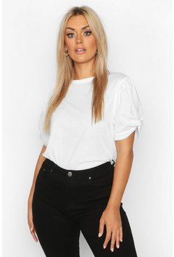 Womens White Plus Ruched Knot Puff Sleeve T-Shirt