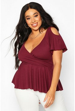 Womens Berry Plus Rib Cold Shoulder Wrap Peplum Top