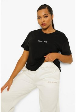 Womens Black Plus Self Love Slogan T-Shirt