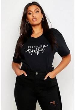 Black Plus Perfectly Imperfect Slogan T-Shirt