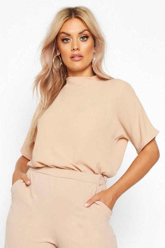 Camel Plus Woven High Neck Short Sleeve Blouse