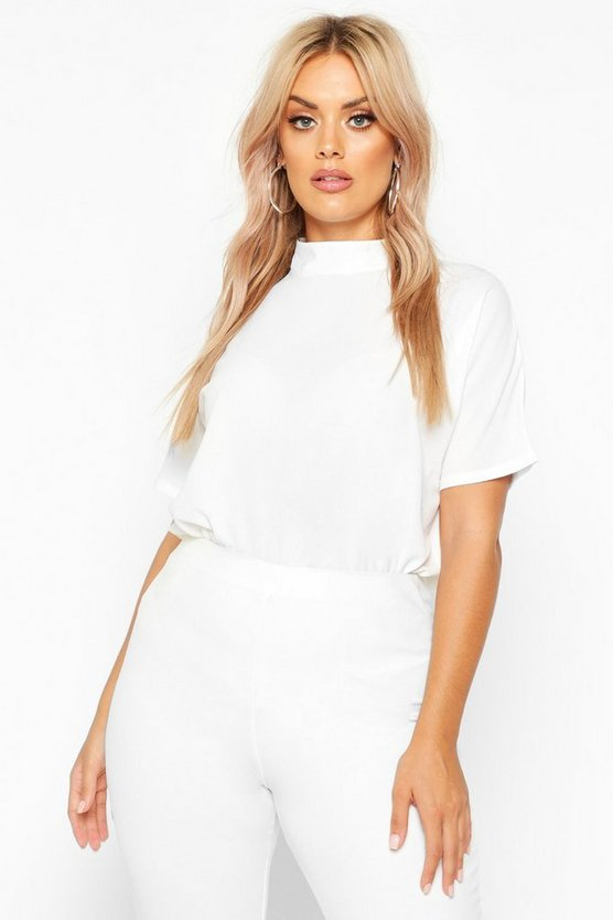 White Plus Woven High Neck Short Sleeve Blouse