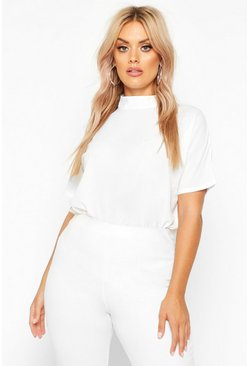 Womens White Plus Woven High Neck Short Sleeve Blouse