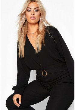 Womens Black Plus Woven Button Through Collarless Shirt