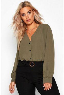 Womens Khaki Plus Woven Button Through Collarless Shirt