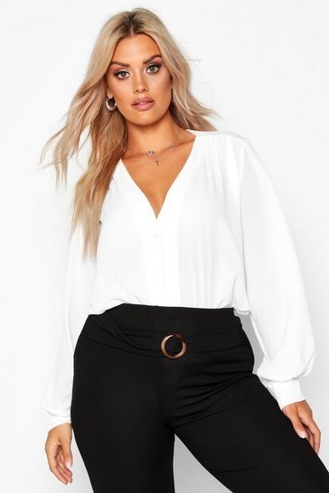 Womens White Plus Woven Button Through Collarless Shirt