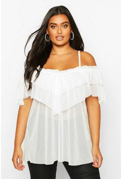 Ivory Plus Cold Shoulder Ruffle Mesh Top