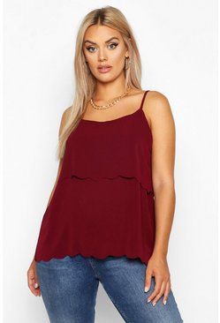 Berry Plus Scallop Tiered Cami