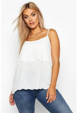 Womens Ivory Plus Scallop Tiered Cami