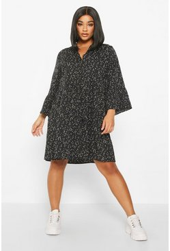 Womens Black Plus Smudge Spot Smock Dress