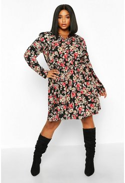 Womens Black Plus Dark Floral Skater Shirt Dress